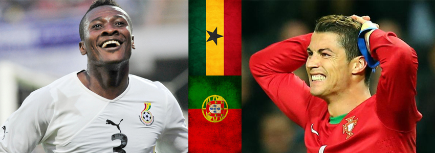 Asamoah Gyan y Cristiano Ronaldo persiguen la victoria para sus equipos