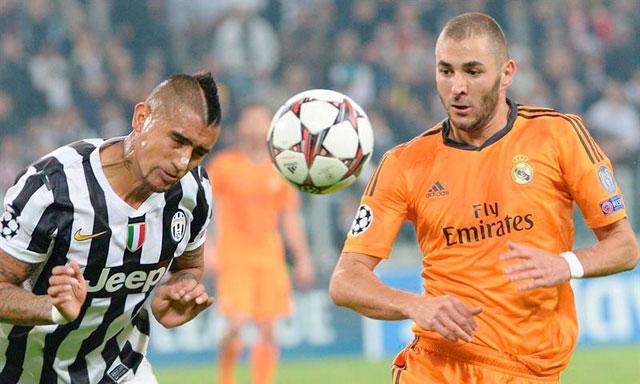 Arturo Vidal (Juventus) y Karim Benzema (Real Madrid)
